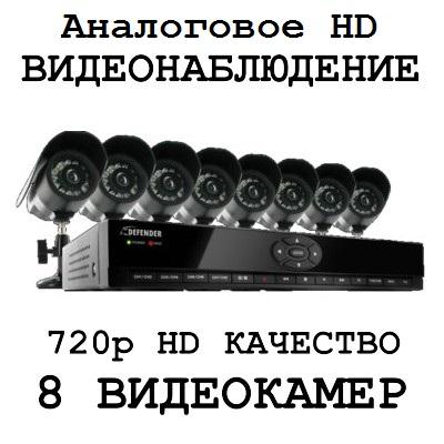 720p HD качество 8 камер